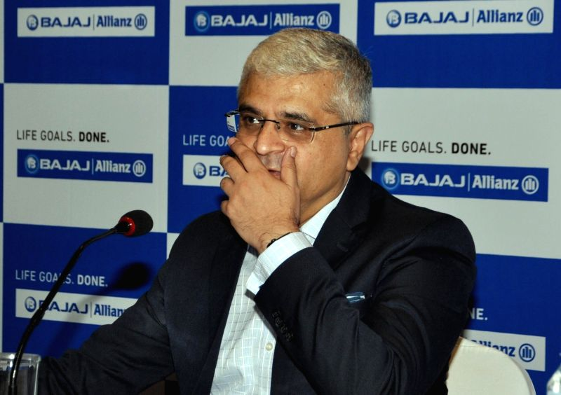Bajaj Allianz Life Insurance Company Ltd Managing Director and CEO Tarun Chugh addresses a press conference, in Kolkata on June 14, 2018.