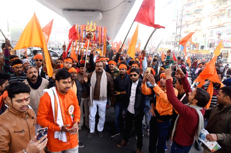 Bajrang Dal workers participate in a procession organised on Swami Vivekananda's birth anniversary in Patna on Jan 12, 2018.