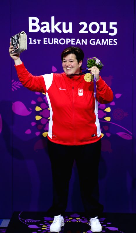Diethelm Gerber Heidi of Switzerland celebrates during the awarding ceremony for the women's 25m pistol at the European Games in Baku, Azerbaijan, June 20, 2015. ...