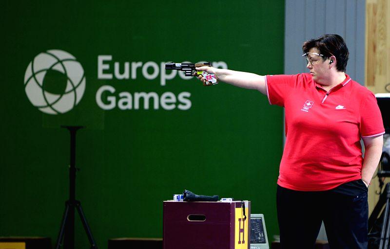 Diethelm Gerber Heidi of Switzerland competes in the final of the women's 25m pistol at the European Games in Baku, Azerbaijan, June 20, 2015. Diethelm Gerber Heidi ...