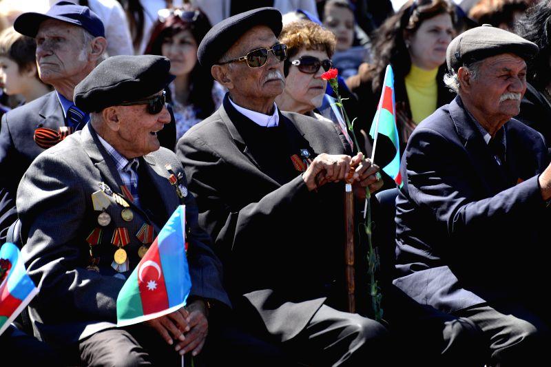 BAKU, May 9, 2016 - Azerbaijani veterans participate in the ceremony to mark the 71st anniversary of the victory over Nazi Germany in Baku, Azerbaijan, May 9,2016.