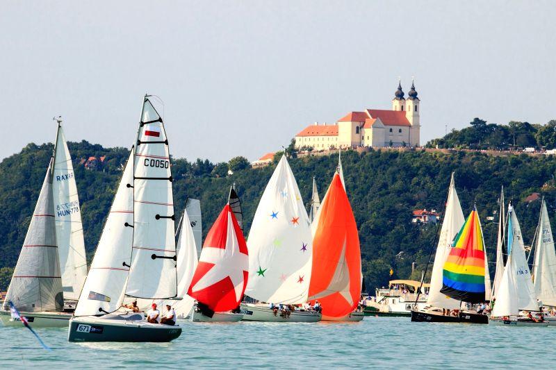 BALATON, July 27, 2018 - Sailors compete during the 50th Blue Ribbon Regatta on lake Balaton, western Hungary, July 26, 2018. The first Blue Ribbon Regatta was held in 1934, making it the oldest ...