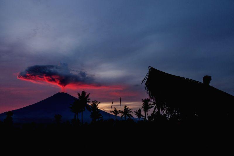 BALI, Nov. 30, 2017 - Mount Agung spews volcanic ash in Amed village, Karangasem district, Bali, Indonesia, Nov. 30, 2017. (Xinhua/Veri Sanovri)