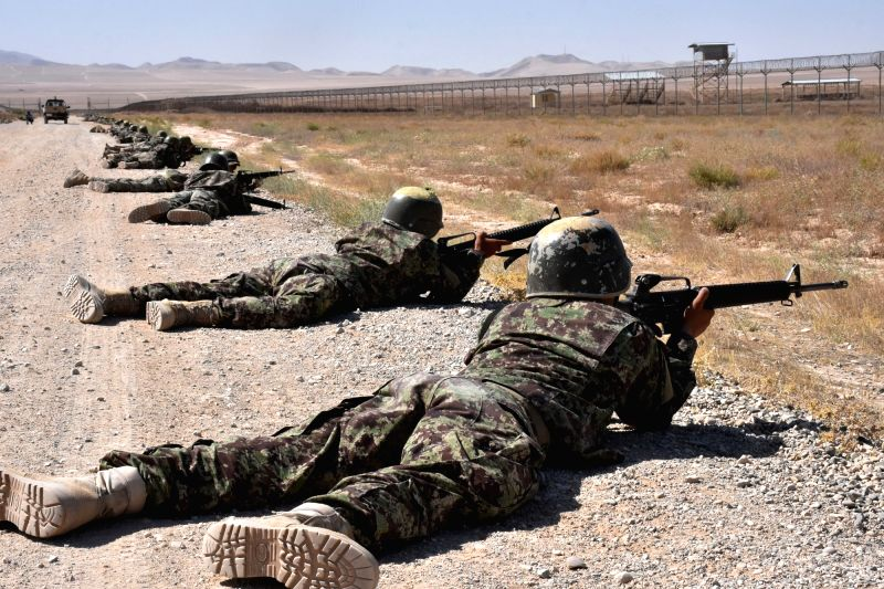 BALKH, Aug 6, 2018 - Afghan army soldiers train at a military training center in Balkh province, Afghanistan, Aug. 6, 2018.