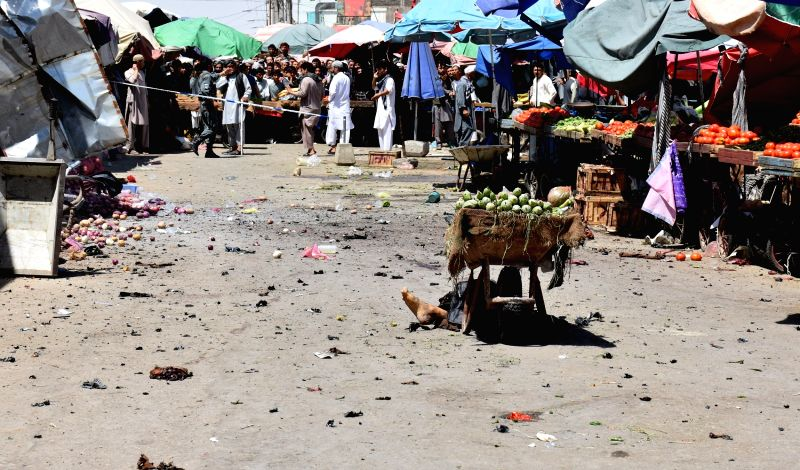 BALKH, Aug. 9, 2016 - Photo taken on Aug. 9, 2016 shows the site of a suicide attack in Mazar-e-Sharif, capital of northern Balkh province, Afghanistan. At least two persons were killed and over one ...