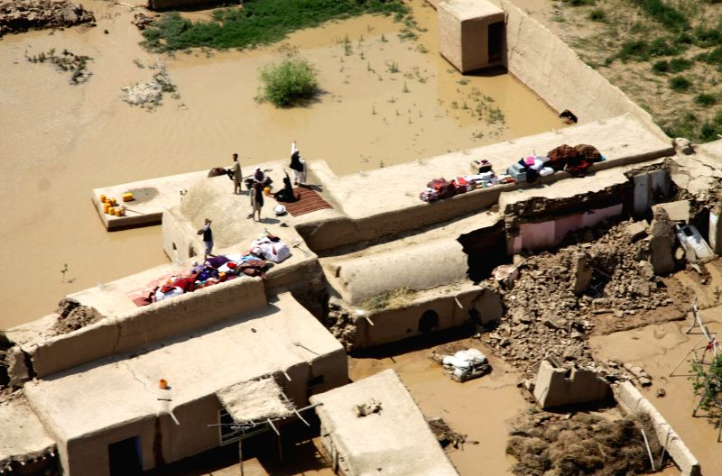 The flooded area is seen in Balkh province in northern Afghanistan on May 12, 2014.