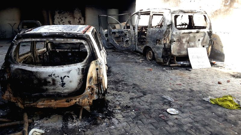 A view of destroyed vehicles in Ballabhgarh city of Haryana where communal riots broke out, on May 29, 2015.