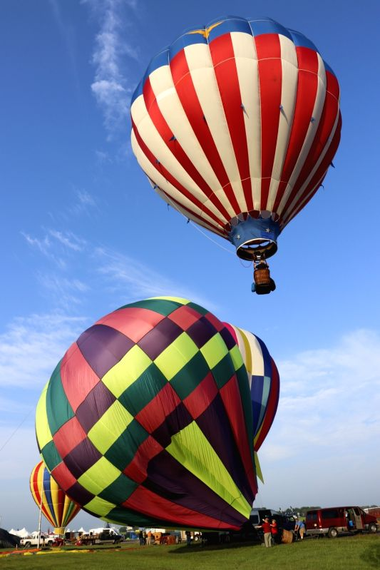 :Balloons are seen during the media preview of the 36th Quickcheck New Jersey Festival of Ballooning in Readington of New Jersey, the United States, July 27, ...