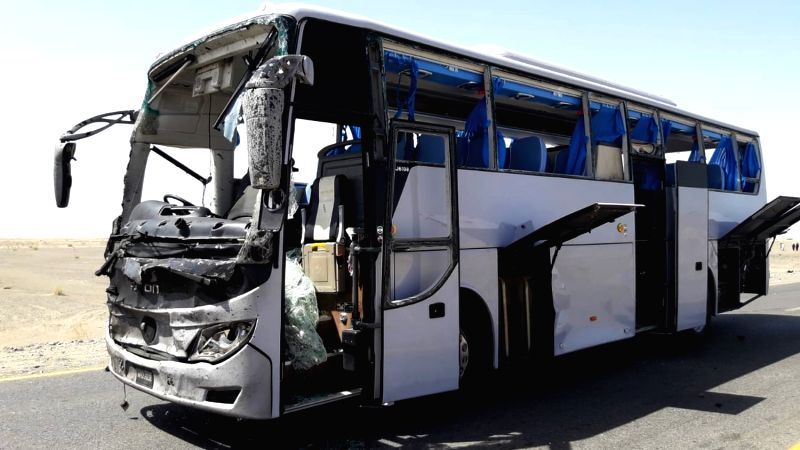 BALOCHISTAN, Aug. 11, 2018 - A damaged bus is seen at the site of a suicide blast in Pakistan's southwestern Balochistan province on Aug. 11, 2018. A suicide attack injured six people including three ...