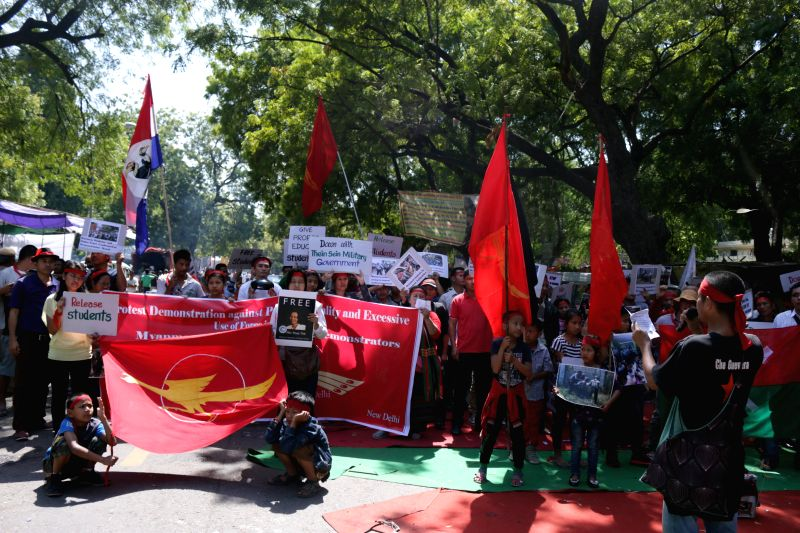 Bamars stage a demonstration against police atrocities in Letpadan of Myanmar, at Jantar Mantar in New Delhi, on March 20, 2015.