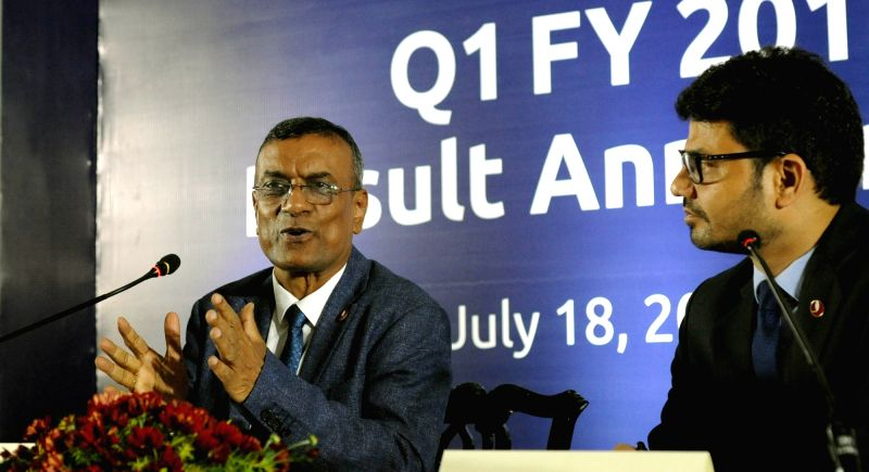 Bandhan Bank CEO and MD Chandra Shekhar Ghosh addresses a press conference at a programme where the bank's first quarter results to the financial year 2018-19 were announced, in Kolkata on ... - Chandra Shekhar Ghosh