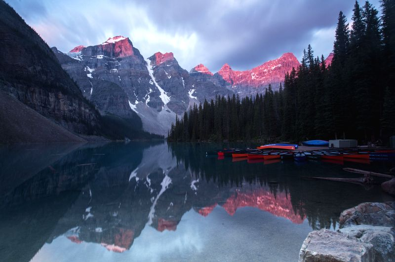 BANFF (CANADA), July 25, 2018 Photo taken on July 20, 2018 shows sunrise at the Moraine Lake in Banff National Park, Canada Rockies, Canada. Located in British Columbia and Alberta, ...