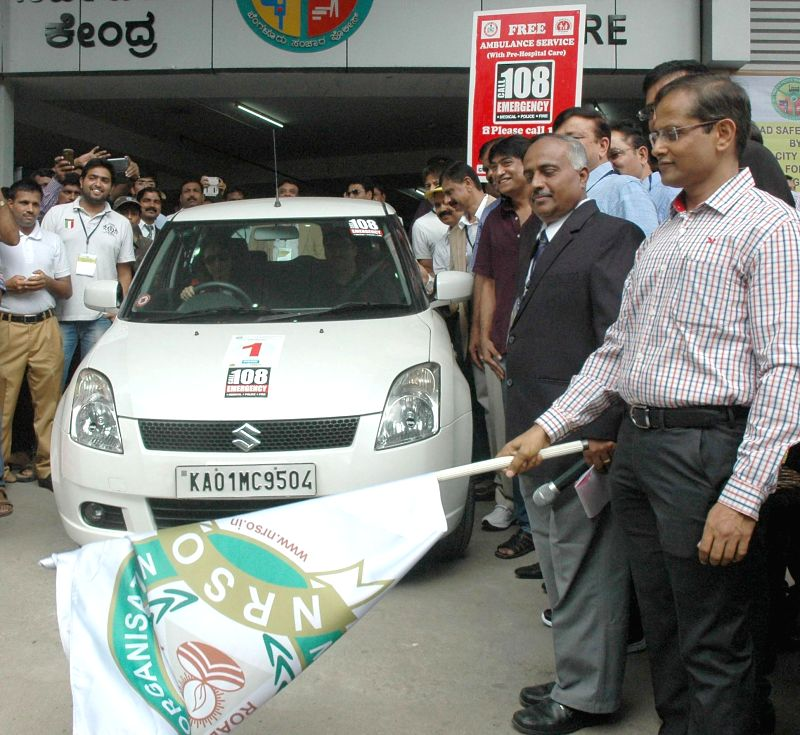 Bangalore Additional Commissioner of Police (Traffic) B Dayananda flags-off '100 km of Defensive Drive' organised by National Road Safety Organization in Bangalore on June 22, 2014.