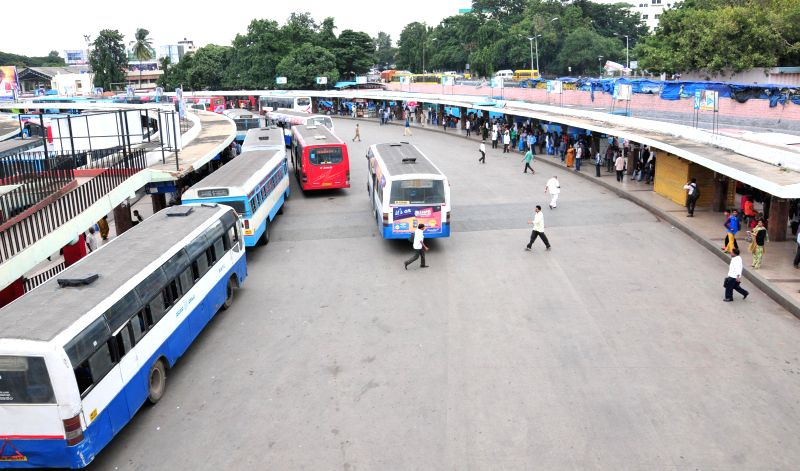 Bangalore bus depot wears a deserted look as Kannada outfits call for a 12-hour strike against crime against women on July 31, 2014.