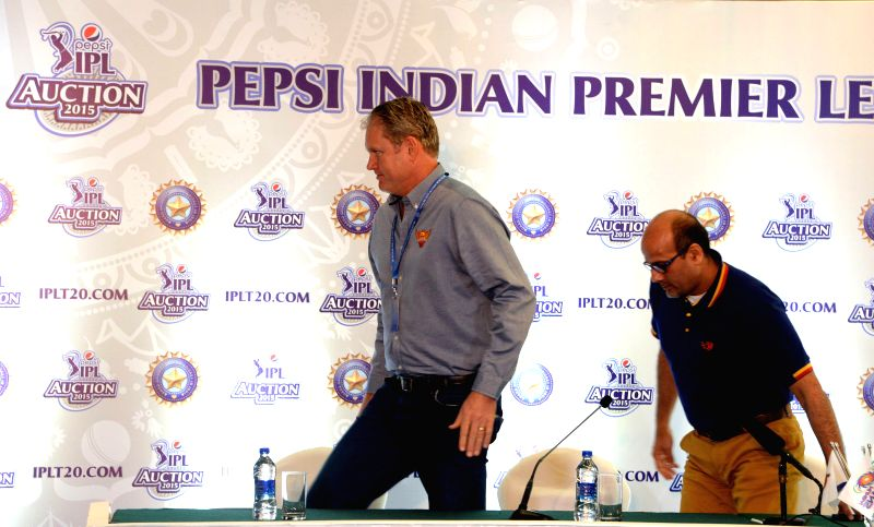 Former Australian cricketer Tom Moody and Delhi Daredevils` Chief Executive Officer Hemant Dua at the player auctions of the IPL 2015 edition in Bangalore, on Feb 16, 2015.
