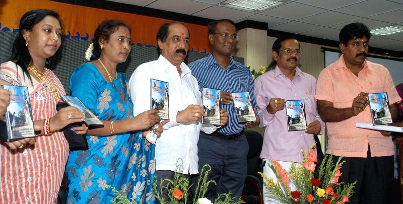 "Bangalore Mayor B S Satyanarayana, Deputy Mayor Indira and other dignitaries during launch of ""Namma Bangalore Namma Koduge"" (Our Bangalore-Our Presentation) theme song DVD at BBMP Employee"