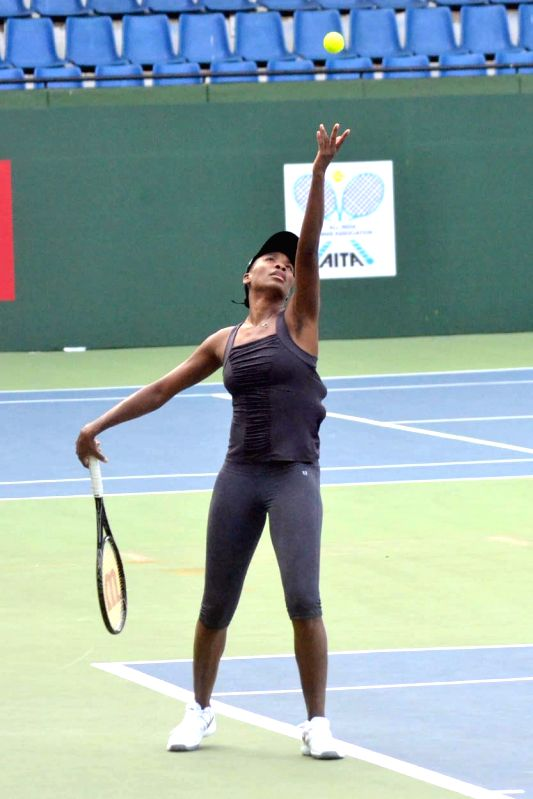 Bangalore player Venus Williams during a practice session ahead of a Champions Tennis League match against Pune at KSLTA, in Bengaluru on Nov 19, 2014.