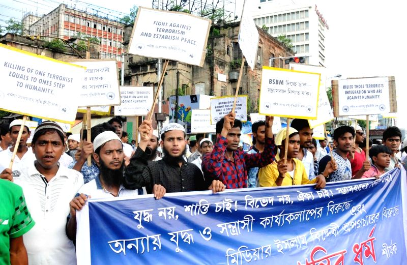 Bangiyo Sankhalaghu Buddhijibi Mancha members take out a rally against terrorism in Kolkata, on July 28, 2016.