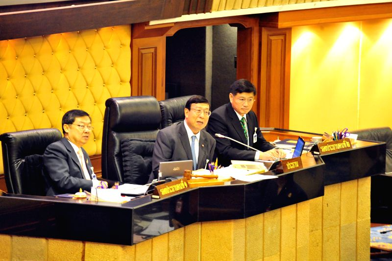 Pornpetch Wichitcholchai (C), president of Thailand's National Legislative Assembly (NLA), attends the meeting to vote for prime minister at Parliament House in ...