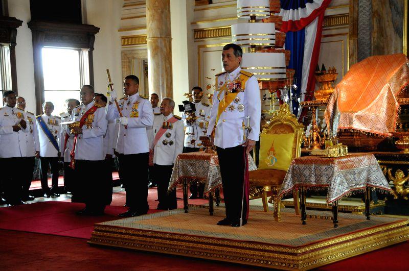 Thai Crown Prince Maha Vajiralongkorn (R) presides over the inauguration ceremony of the National Legislative Assembly at the Ananta Samakhom Throne Hall in Bangkok,