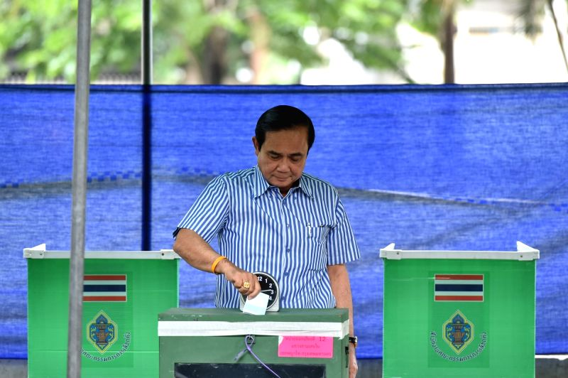 BANGKOK, Aug. 7, 2016 - Thai Prime Minister Prayuth Chan-ocha casts his vote in a constitutional referendum at a polling place in Bangkok, Thailand, Aug. 7, 2016. Citizens of Thailand vote on a new ... - Prayuth Chan