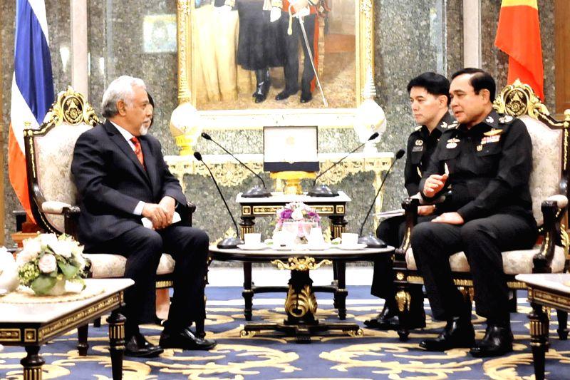 Thai Army Chief Gen. Prayuth Chan-ocha (R) meets with Timor-Leste Defense Minister Kay Rala Xanana Gusmao (L) at Thai Army Headquarter in Bangkok, Thailand, Aug. 8, .
