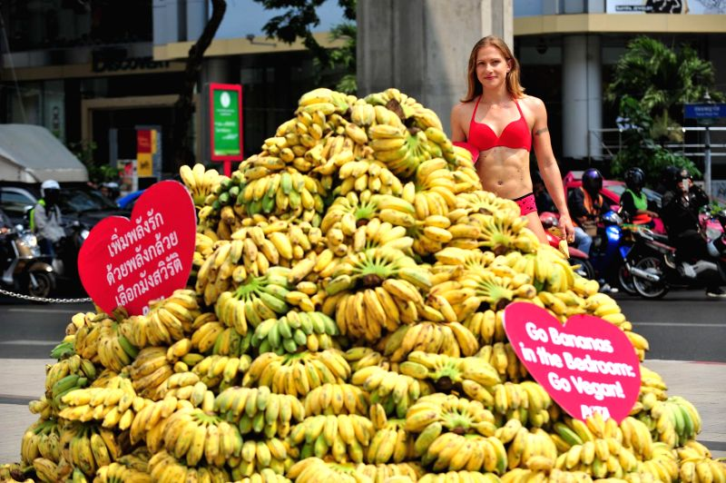 A female member of People for the Ethical Treatment of Animals (PETA), a U.S.-based NGO dedicated to animal protection, stands next to a pile of bananas during a ...