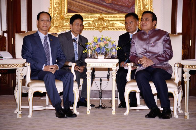 Thai Prime Minister Prayut Chan-o-cha (R, front) meets with Myanmar Vice President Dr. Sai Mauk Kham (L, front) at the Government House in Bangkok, Thailand, Feb. ... - Prayut Chan