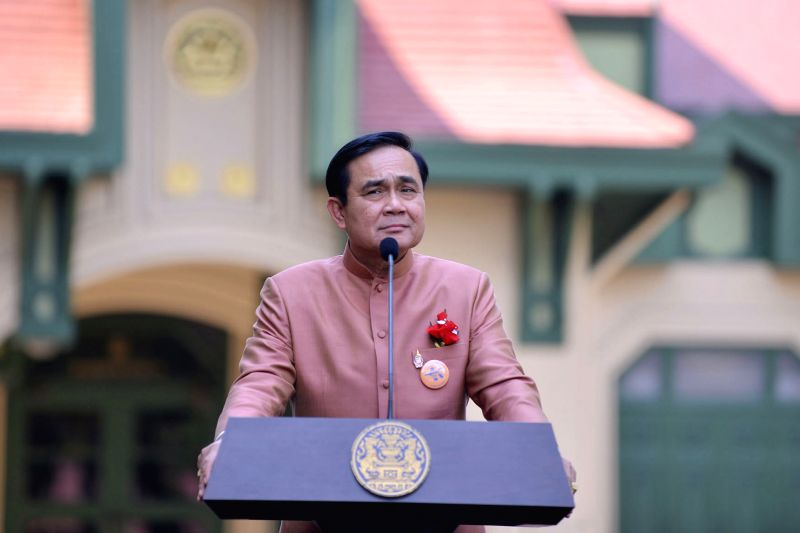 Thai Prime Minister Prayut Chan-o-cha attends a press conference after a cabinet meeting at the Government House in Bangkok, Thailand, Feb. 3, 2015. (Xinhua/Rachen .. - Prayut Chan