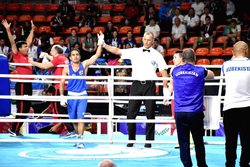 Bangkok: Indian boxer Amit Panghal after defeating Uzbekistan's Hasanboy Dusmatov in the quarter final match of the Asian Boxing Championships in Bangkok on April 22, 2019.
