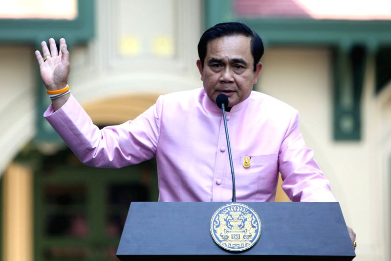 Thai Prime Minister Prayuth Chan-ocha speaks at a press conference after a cabinet meeting at Government House in Bangkok, Thailand, Jan. 13, 2015. (Xinhua/Rachen .. - Prayuth Chan