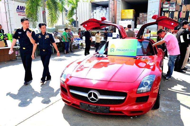A smuggled car seized by Thai customs officials is shown at a press briefing at Thai Customs headquarters in Bangkok, Thailand, Jan. 16, 2015. Thai customs ...