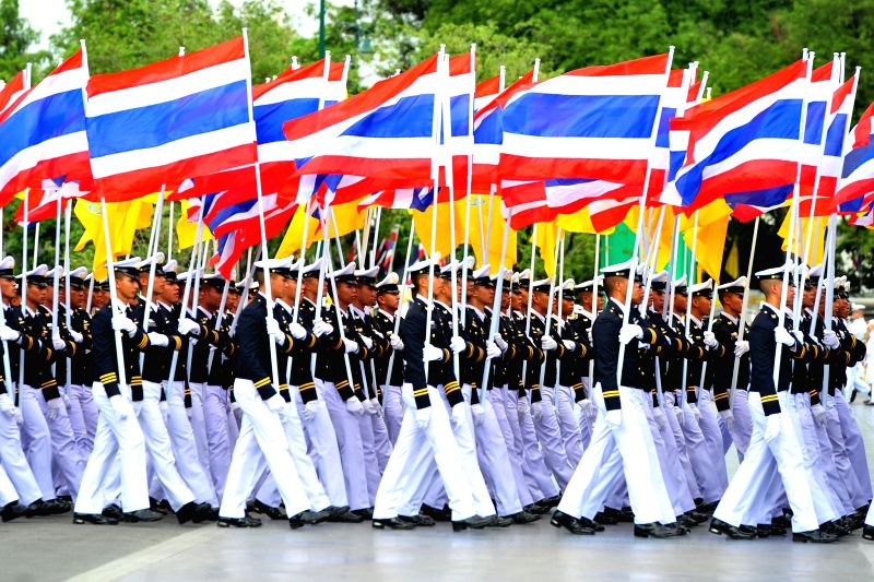 BANGKOK, July 28, 2018 - People parade during the celebration marking Thai King Maha Vajiralongkorn's birthday in Bangkok, Thailand, on July 28, 2018. Thai officials and the general public joined to ...