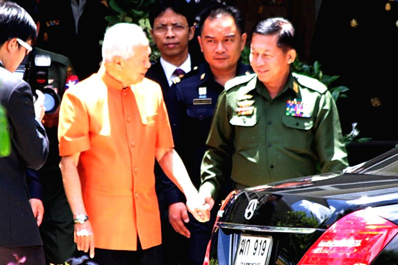 Thai Privy Council President Prem Tinsulanonda (L, front) meets with Commander-in-Chief of Myanmar's Defense Services Senior-General Min Aung Hlaing (R, front) in ...