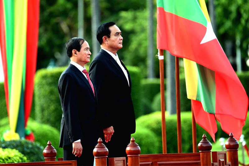 BANGKOK, June 14, 2018 - Thai Prime Minister Prayut Chan-o-cha welcomes visiting Myanmar President U Win Myint at the Government House in Bangkok, Thailand, June 14, 2018. - Prayut Chan