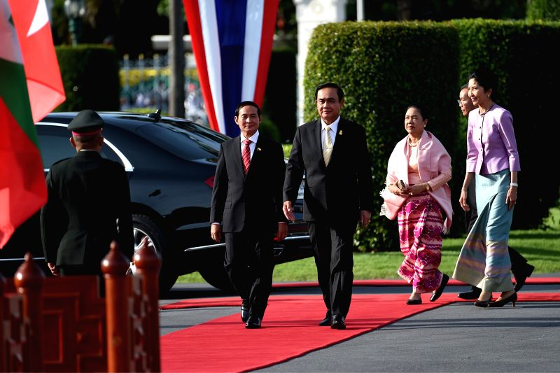BANGKOK, June 14, 2018 - Thai Prime Minister Prayut Chan-o-cha and visiting Myanmar President U Win Myint inspect the guard of honor during a welcoming ceremony at the Government House in Bangkok, ... - Prayut Chan