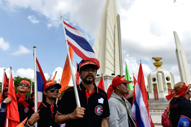 BANGKOK, May 1, 2017 - People attend a rally in front of the Democracy Monument on the International Workers' Day in downtown Bangkok, Thailand, May 1, 2017. Thai workers called for better-guaranteed ...