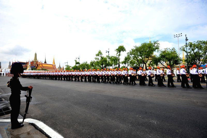 BANGKOK, Oct. 7, 2017 - Drumers walk in a procession during a rehearsal for the funeral of the late Thai King Bhumibol Adulyadej near the Grand Palace in Bangkok, Thailand, Oct. 7, 2017. The royal ...