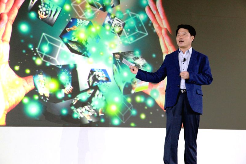President and CEO, Samsung India Electronics HyunChil Hong addresses a press conference at Samsung Forum 2015 in Bangkok, Thailand on Feb. 16, 2015.