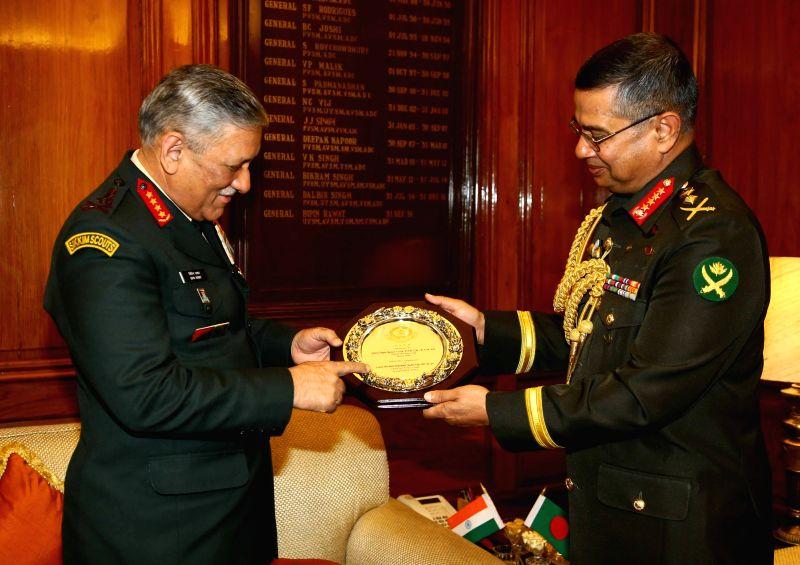 Bangladesh Army Chief General Abu Belal Muhammad Shafiul Huq calls on Army Chief General Bipin Rawat in New Delhi on Dec 7, 2017.