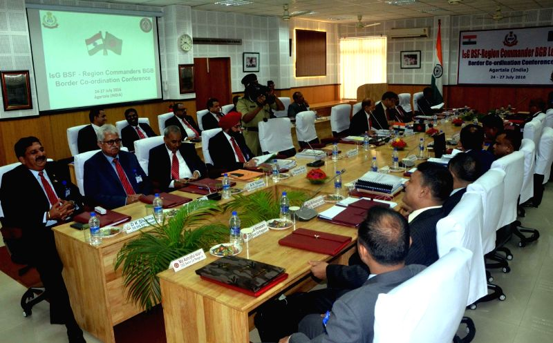 Bangladesh Border Guard delegation led by Additional Director General (ADG) Md Habibul Karim and BSF officials during a four day Border Coordination Conference at Tripura BSF frontier ...