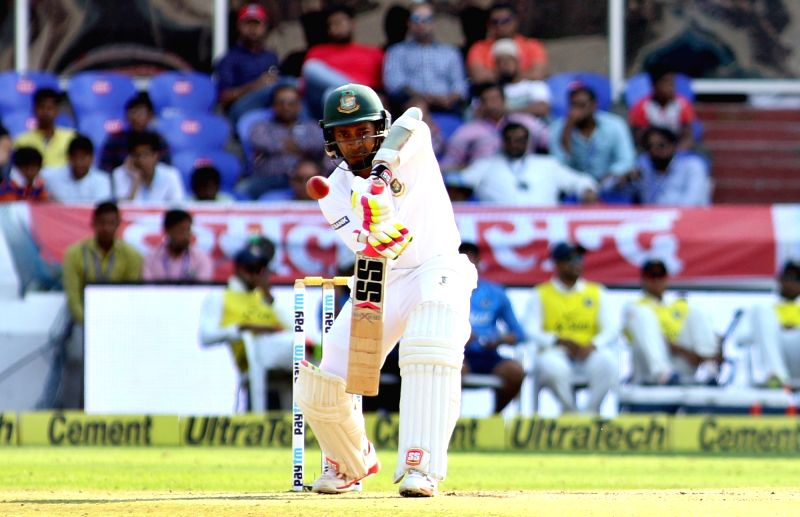 Bangladesh captain Mushfiqur Rahim bats during the test match between India and Bangladesh in Hyderabad on Feb. 11, 2017. - Mushfiqur Rahim