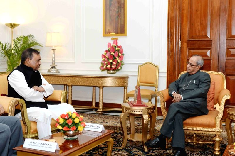 Bangladesh Home Minister Asaduzzaman Khan calls on the President Pranab Mukherjee at Rashtrapati Bhavan, in New Delhi on July 27, 2016. - Asaduzzaman Khan and Pranab Mukherjee