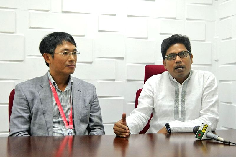 Bangladesh Minister for Information and Communication Technology (ICT) Zunaid Ahmed Palak during his visit to Samsung Research and Development Center in Dhaka of Bangladesh on May 6, 2014.