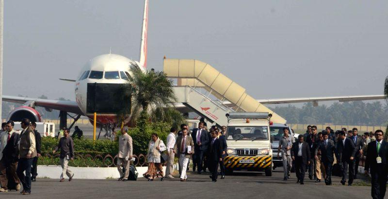 Bangladesh President Abdul Hamid arrives at Netaji Subhas Chandra Bose International Airport in Kolkata, on Dec 22, 2014.