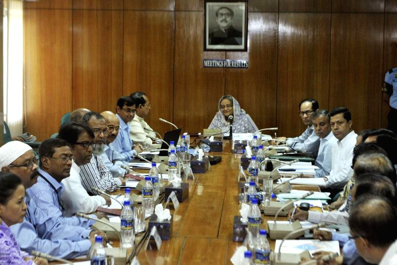 Bangladesh Prime Minister Sheikh Hasina during a meeting with the officials of Ministry of Information in Dhaka, Bangladesh on May 18, 2014.