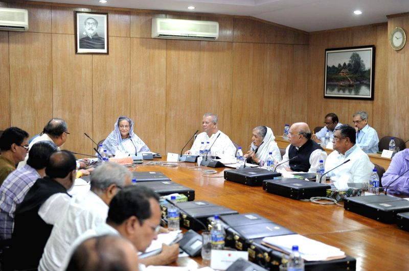 Bangladesh Prime Minister Sheikh Hasina speaks at a Cabinet meeting held at the Secretariat in Dhaka, Bangladesh  on on Aug 11, 2014.