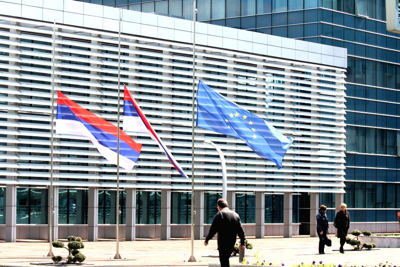 Flags are lowered to half-mast in Banja Luka, Republic of Srpska, marking the day of mourning after the terrorist attack on a local police station in Zvornik, ...