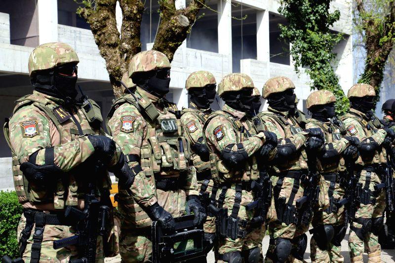 BANJA LUKA, April 4, 2016 - Members of the special police of Republika Srpska, an entity of Bosnia and Herzegovina (BiH) conduct training exercise, in Banja Luka, Bosnia-Herzegovina, on April 4, ...