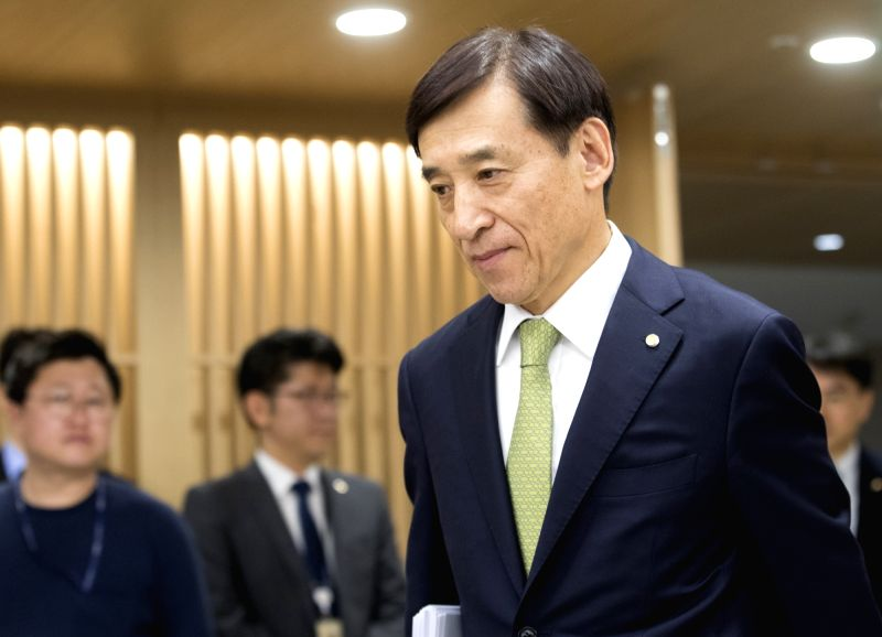 Bank of Korea (BOK) Governor Lee Ju-yeol arrives at the central bank in Seoul on July 12, 2018, to chair a monetary policy board meeting. The BOK froze the key rate at 1.5 percent for July and ...